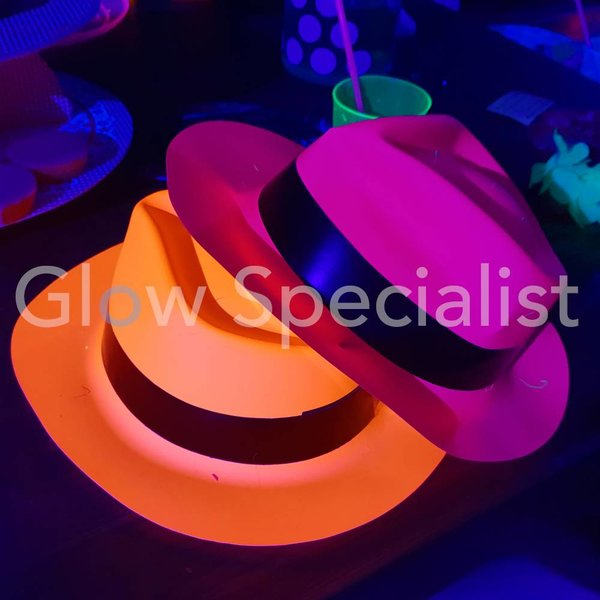 UV / BLACKLIGHT GANGSTER HAT - NEON ORANGE