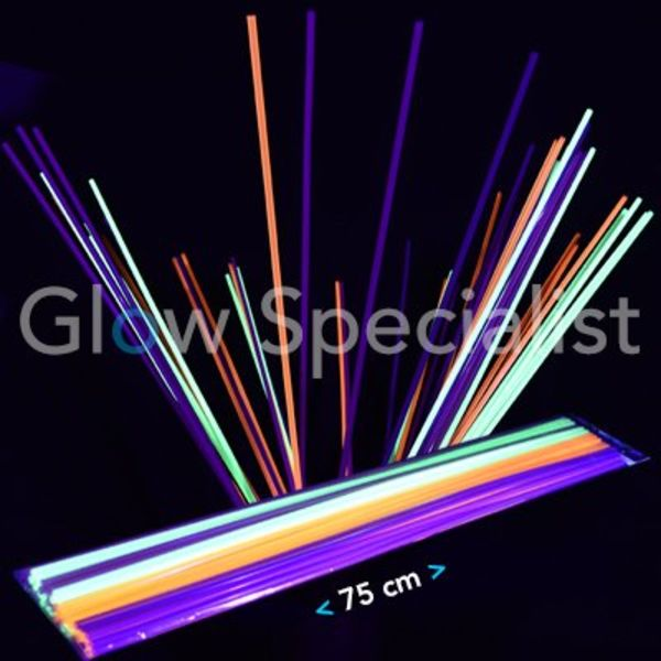 UV / Blacklight Straws XL - 75 cm - 50 pieces