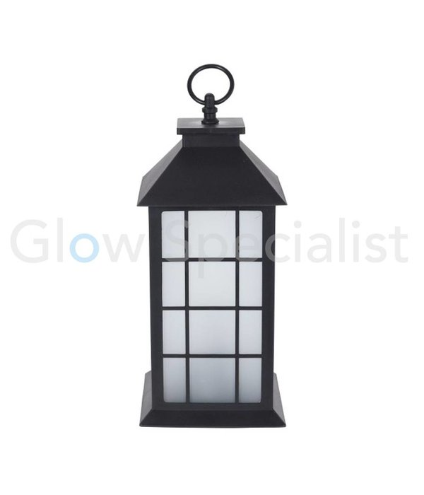 LED LANTERN WITH DECORATIVE FLAME EFFECT - SQUARE