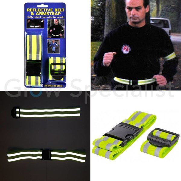 NEON YELLOW REFLECTIVE BELT AND ARMSTRAP