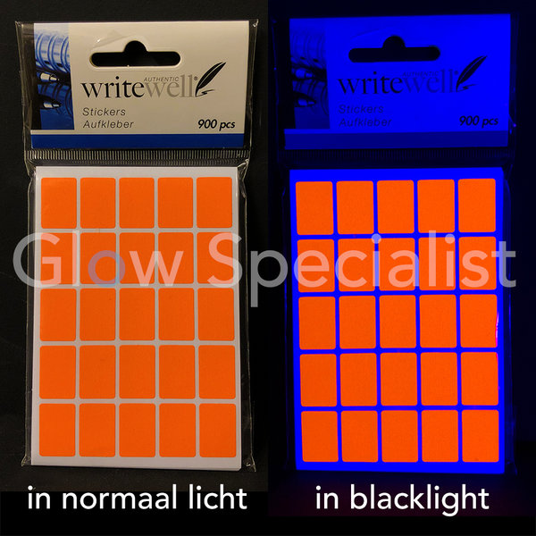 NEON ORANJE STICKERS - 13x19MM - 900 STUKS