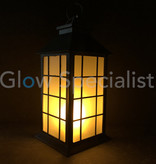 LED LANTAARN MET DECORATIEF VLAMEFFECT - VIERKANT