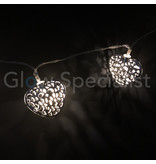 DECORATIVE LED LIGHTING WITH 10 SILVER HEARTS