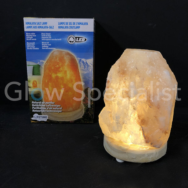 LED HIMALAYA ZOUTLAMP - WARM WIT - 8x8x13CM