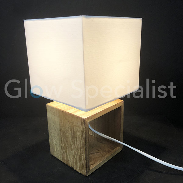 GRUNDIG TABLE LAMP - WOODEN BASE WITH FABRIC SHADE