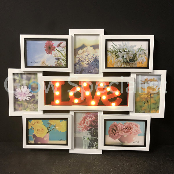 LED PHOTO FRAME LOVE FOR 8 PHOTOS - 43x56 CM - 15 LED