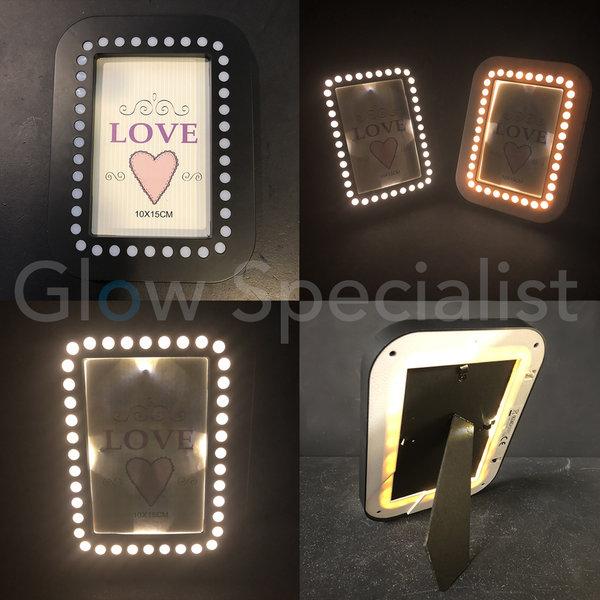 LED FOTOLIJST - 20,5x15,5 CM - ZWART - 35 LED