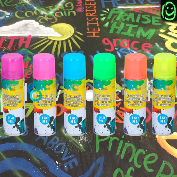 NEON CHALK SPRAY - 160 ML - 6 KLEUREN