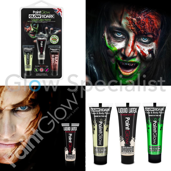 PAINTGLOW GLOW IN THE DARK LIQUID LATEX HORROR - SET VAN 3