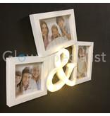 LED FOTOLIJST & TEKEN - 3 FOTOS - 11 LED - WIT