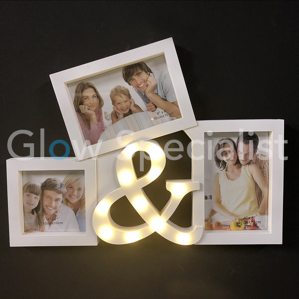LED PHOTO FRAME WITH & SIGN - 11 LED - WHITE