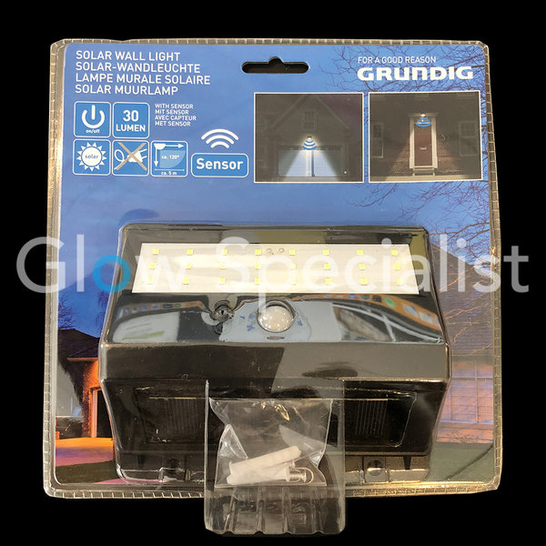GRUNDIG SOLAR WALL LAMP WITH SENSOR - 30 LUMEN
