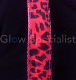 LED PARTY SUSPENDERS - PINK WITH LEAPARD PATTERN