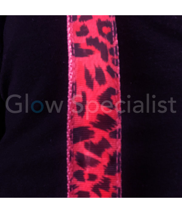 LED PARTY SUSPENDERS - PINK WITH LEOPARD PATTERN