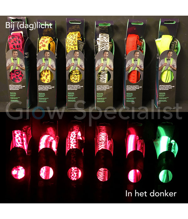 LED PARTY SUSPENDERS - WITH ZEBRA PRINT