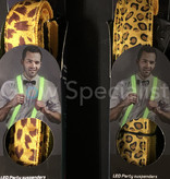LED PARTY SUSPENDERS - YELLOW WITH LEAPARD PATTERN