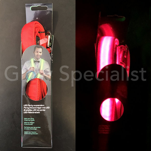 LED PARTY SUSPENDERS - RED