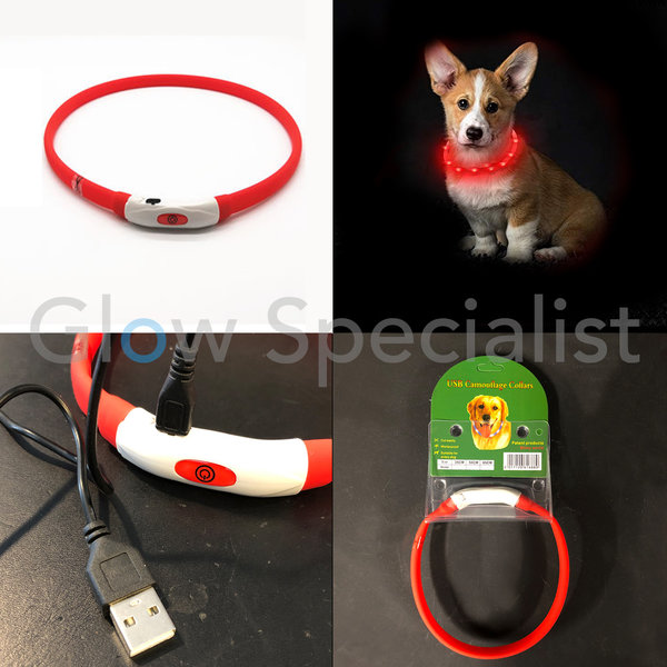 LED DOG COLLAR - RECHARGEABLE WITH USB CABLE  - RED - 3 SIZES