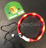 LED HALSBAND VOOR HONDEN - OPLAADBAAR MET USB KABEL - ROOD - 3 MATEN