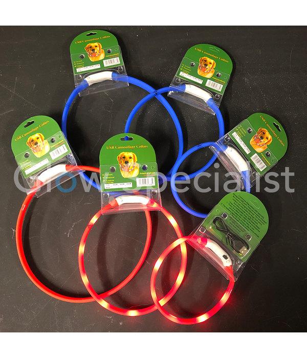 LED HALSBAND VOOR HONDEN - OPLAADBAAR MET USB KABEL - BLAUW - 3 MATEN
