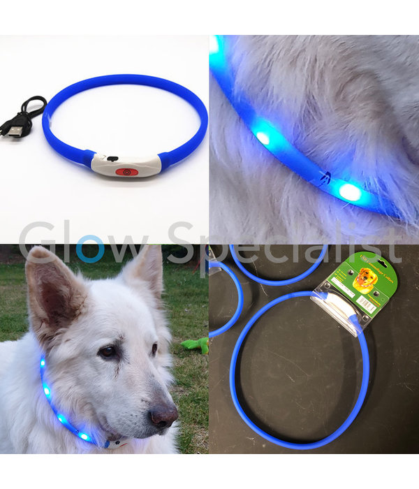 LED DOG COLLAR - RECHARGEABLE WITH USB CABLE - BLUE - 3 SIZES
