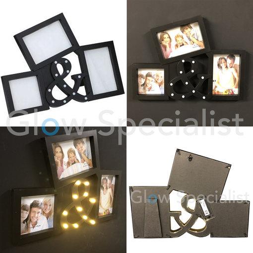 LED PHOTO FRAME WITH &-SIGN - 11 LED - BLACK