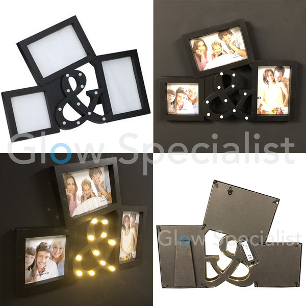 LED PHOTO FRAME WITH &-SIGN - 11 LED - BLACK