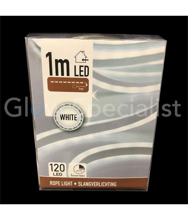 LED SLANGVERLICHTING - 120 LED - 1 METER - HELDER WIT - MET TIMER