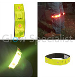 NEON GELE REFLECTERENDE BAND MET 4 RODE LED LAMPJES