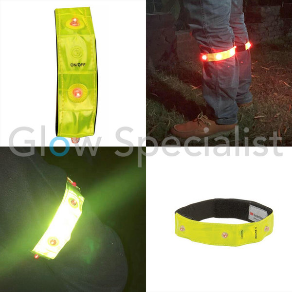 NEON YELLOW REFLECTIVE BAND WITH 4 RED LED LAMPS
