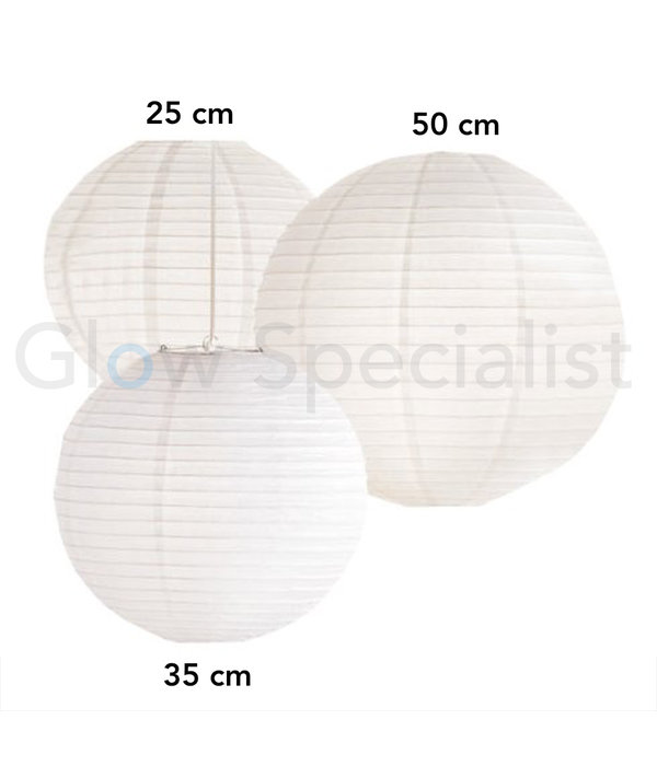 WHITE PAPER LANTERNS - 3 SIZES - SET OF 20