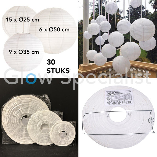 WHITE PAPER LANTERNS - 3 SIZES - SET OF 30