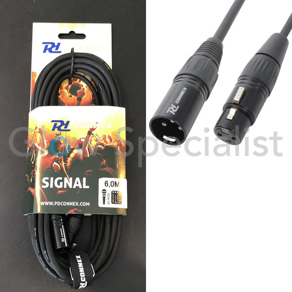 POWER DYNAMICS CONNEX - DMX KABEL XLR MALE - XLR FEMALE 6 METER