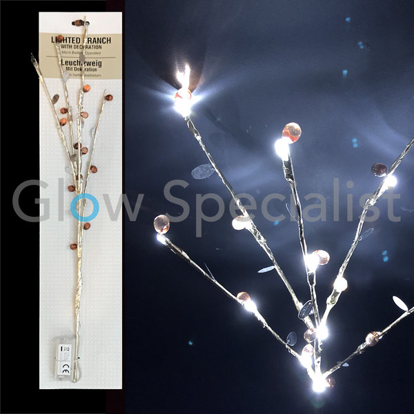 LED LIGHTED BRANCH - 15 LED - 66 CM