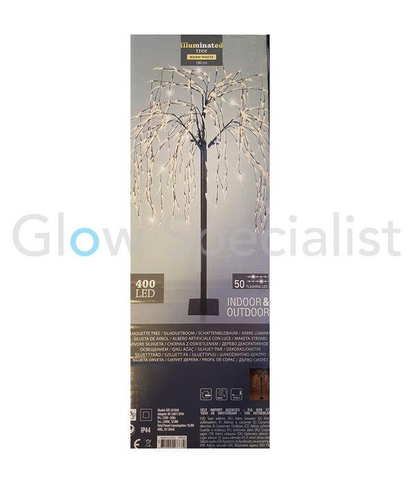 WILGENBOOM MET 400 LED - WARM WIT - FLASH - 180 CM