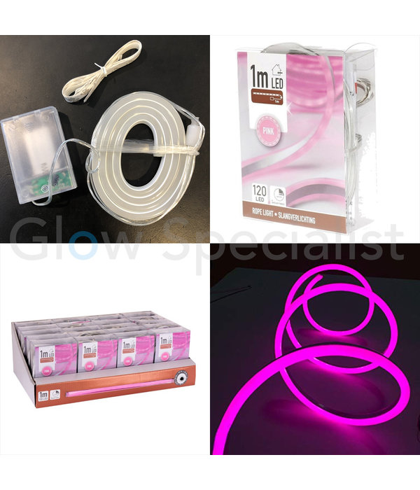 LED SLANGVERLICHTING - 120 LED - 1 METER -  ROZE - MET TIMER