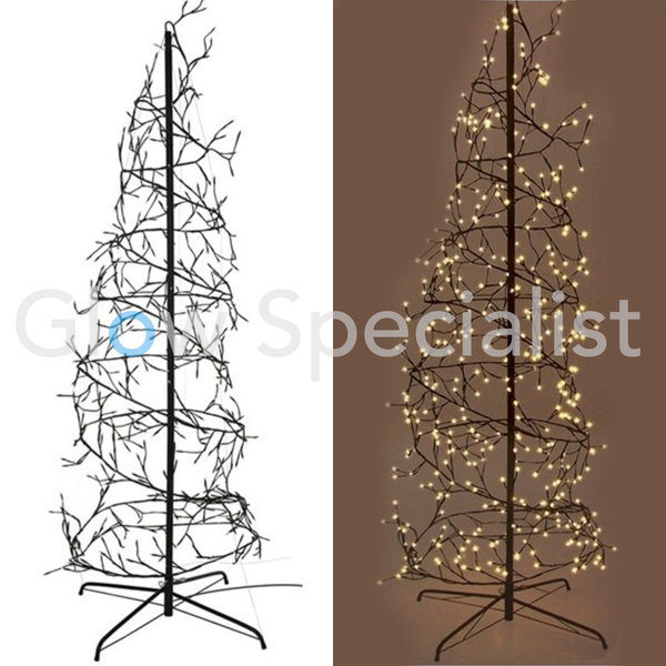 SPIRAL TREE - 567 LED - 8 LIGHT MODES - WARM WHITE - 240CM