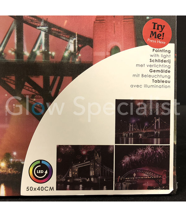 CANVAS SCHILDERIJ - LONDEN TOWER BRIDGE - COLOR CHANGING LED - 50X40CM