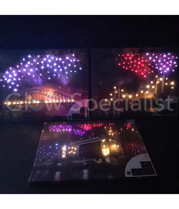 CANVAS SCHILDERIJ - BRIDGE BY NIGHT - COLOR CHANGING LED - 50X40CM