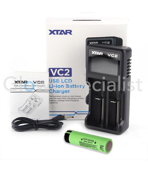 XTAR VC2 USB LI-ION BATTERIJLADER MET 1 X 18650 BATTERIJ