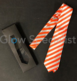 UV / BLACKLIGHT NEON NECKTIE - STRIPED ORANGE/WHITE