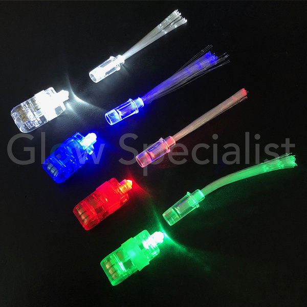 FINGER LIGHTS WITH FIBERSTICKS - TRAY OF 100 PIECES - 4 COLORS