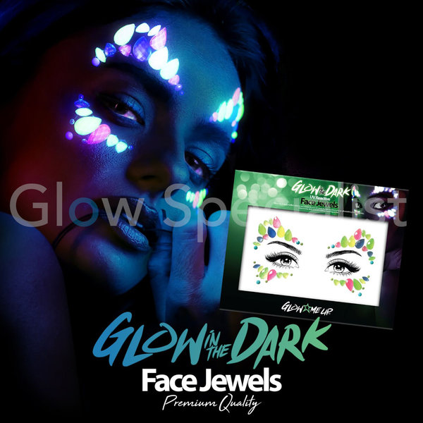 PAINTGLOW GLOW IN THE DARK UV REACTIVE FACE JEWELS - CATEYE