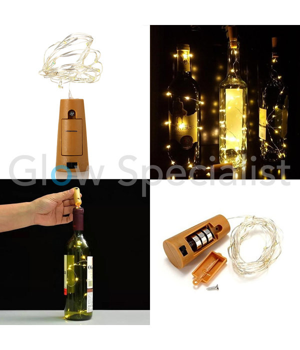 BOTTLE STOPPER WITH 8 LED - WARM WHITE