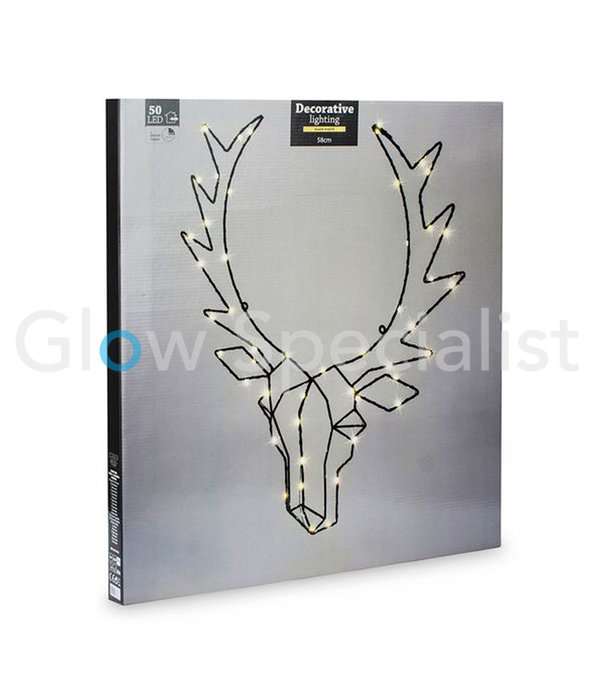 REINDEER HEAD WITH CHRISTMAS LIGHTS - 50 LED - BLACK - 58 CM - WITH TIMER