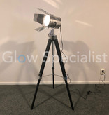 MODERN 'FILM STUDIO' TRIPOD LAMP - 143CM - BLACK WITH SILVER