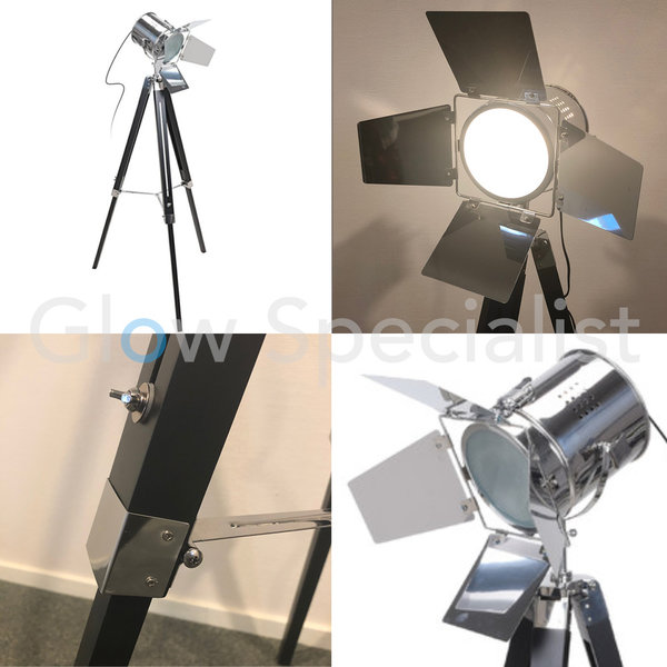 MODERN 'FILM STUDIO' TRIPOD LAMP - 143CM - BLACK WITH SILVER