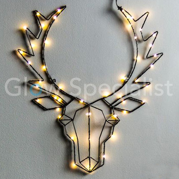 REINDEER HEAD WITH CHRISTMAS LIGHTS - 50 LED - BLACK - 58 CM