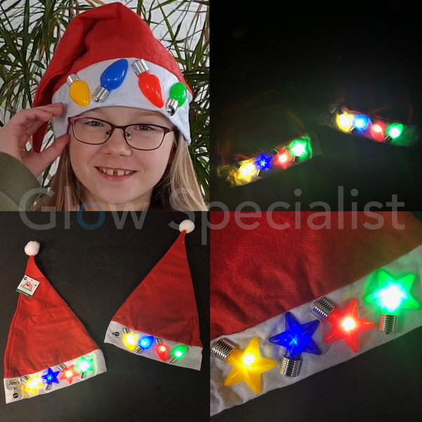 SANTA HAT WITH FLASHING LED STARS/BULBS