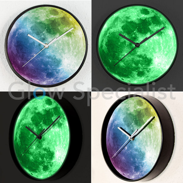 GLOW IN THE DARK WALL CLOCK - FULL MOON - Ø25 CM